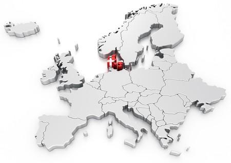 mapa de europa: representaci�n 3D de un mapa de Europa con Dinamarca seleccionado