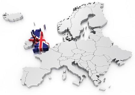 representación 3D de un mapa de Europa con el Reino Unido seleccionado