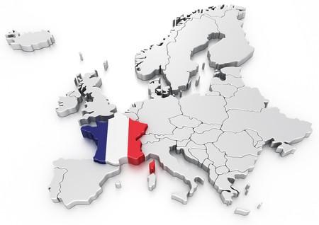 bandera francia: representaci�n 3D de un mapa de Europa con Francia seleccionado  Foto de archivo