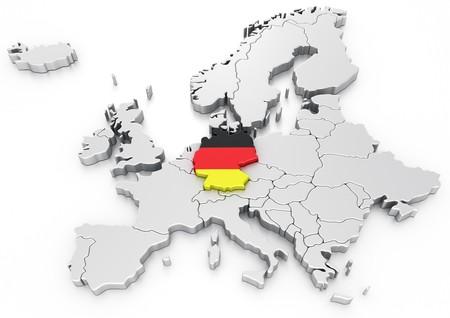 bandera de alemania: representaci�n 3D de un mapa de Europa con Alemania seleccionado