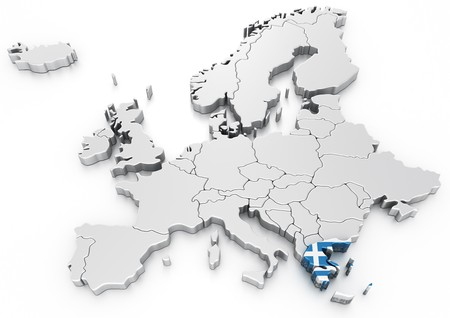 3d rendering of a map of Europe with Greece selected photo