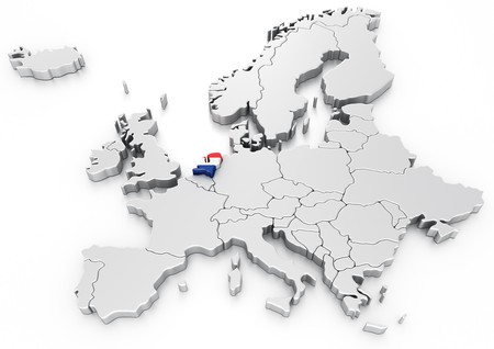 selected: 3d rendering of a map of Europe with Holland selected
