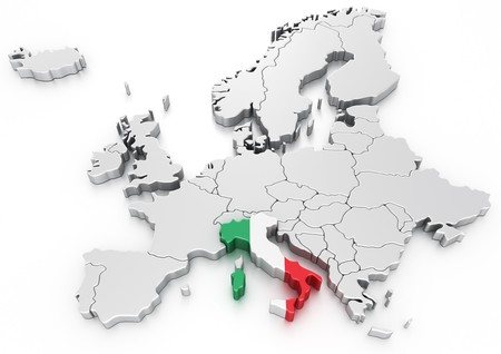 3d rendering of a map of Europe with Italy selected photo