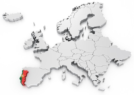 portugese: 3d rendering of a map of Europe with Portugal selected Stock Photo