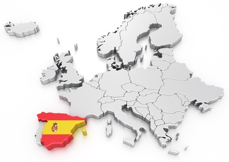 3d rendering of a map of Europe with Spain selected photo
