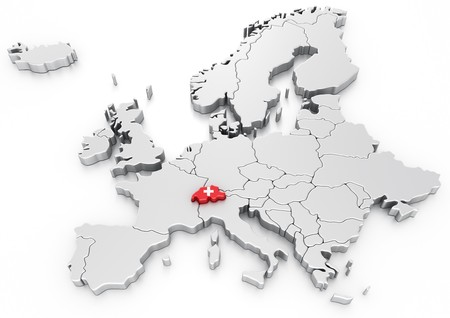 3d rendering of a map of Europe with Switzerland selected Stock Photo - 7250771