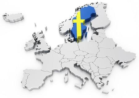 bandera de suecia: representaci�n 3D de un mapa de Europa con Suecia seleccionado