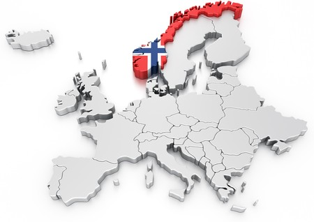 norwegian: 3d rendering of a map of Europe with Norway selected Stock Photo