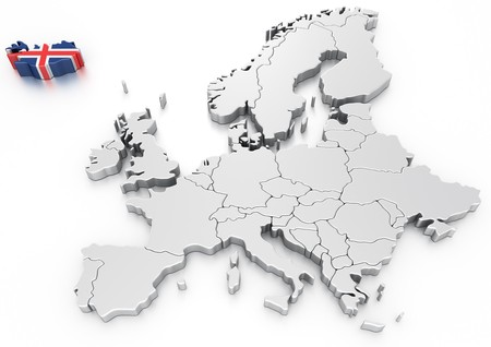 iceland flag: 3d rendering of a map of Europe with Iceland selected
