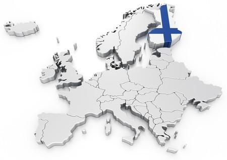 bandera de finlandia: representaci�n 3D de un mapa de Europa con Finlandia seleccionado