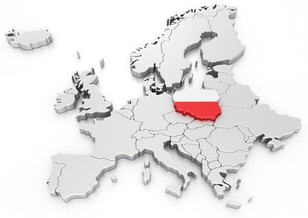 3d rendering of a map of Europe with Poland selected photo