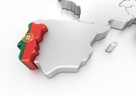 bandera de portugal: representaci�n 3D de Portugal  Foto de archivo