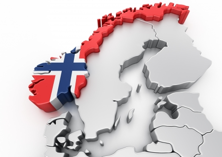 norwegian: 3d rendering of Norway Stock Photo