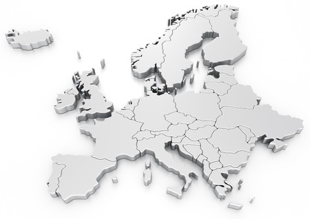 cgi: 3d rendering of a map of Europe