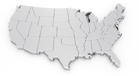 3D-weergave van een kaart van de VS. Stockfoto