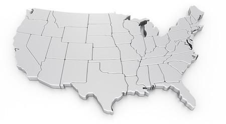 united  states of america: rendering 3D di una mappa degli Stati Uniti