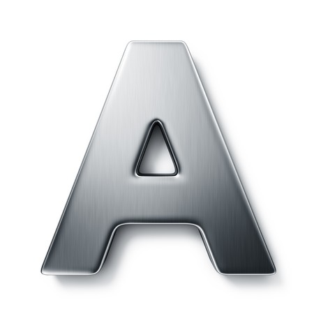 3d rendering of the letter A in brushed metal on a white isolated background. Zdjęcie Seryjne