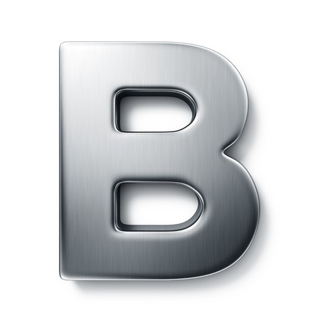 rendering: 3d rendering of the letter B in brushed metal on a white isolated background. Stock Photo