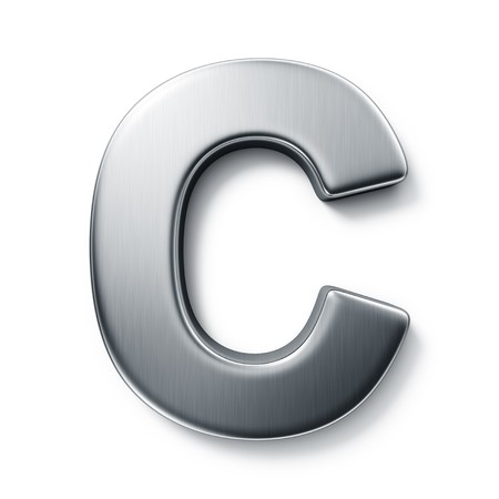 3d rendering of the letter C in brushed metal on a white isolated background.