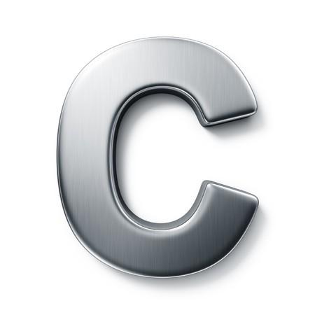 letras cromadas: representaci�n 3D de la letra C en metal cepillado sobre un fondo blanco aislado de fondo.  Foto de archivo