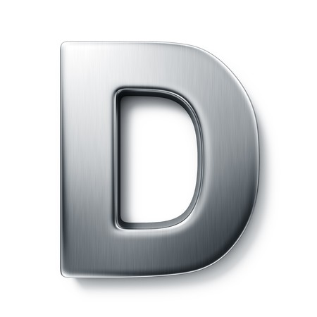 d: 3d rendering of the letter D in brushed metal on a white isolated background.