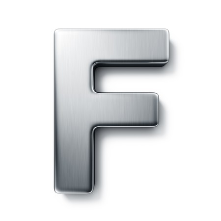 letter f: 3d rendering of the letter F in brushed metal on a white isolated background.