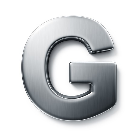 letter g: 3d rendering of the letter G in brushed metal on a white isolated background. Stock Photo