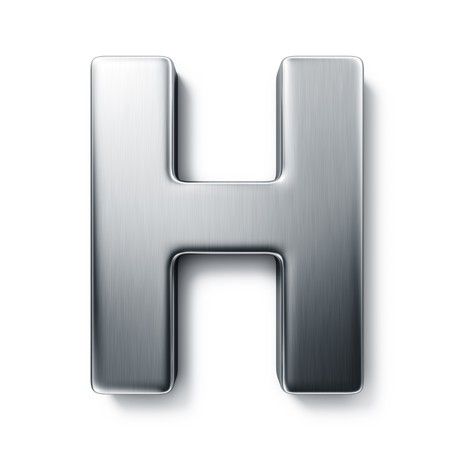 3d rendering of the letter H in brushed metal on a white isolated background.