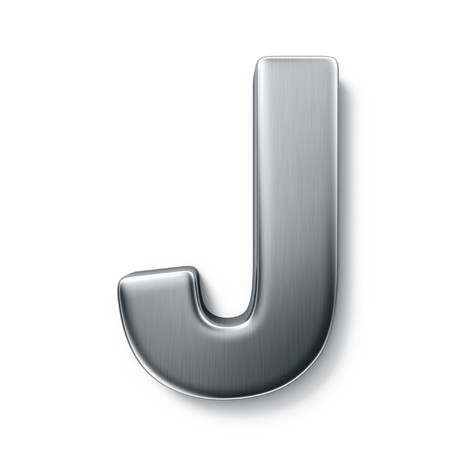 brushed aluminum: 3d rendering of the letter J in brushed metal on a white isolated background. Stock Photo