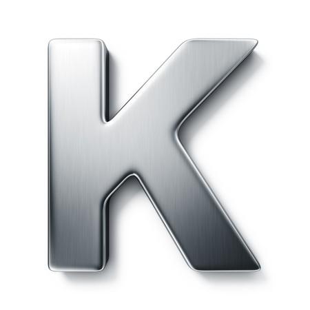 brushed aluminium: 3d rendering of the letter K in brushed metal on a white isolated background.