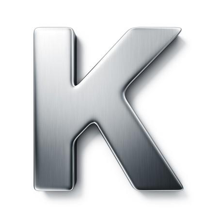 letras cromadas: representaci�n 3D de la letra K en metal cepillado sobre un fondo blanco aislado de fondo.