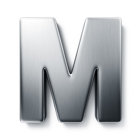 3d rendering of the letter M in brushed metal on a white isolated background. photo