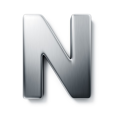 3D rendering: 3d rendering of the letter N in brushed metal on a white isolated background. Stock Photo