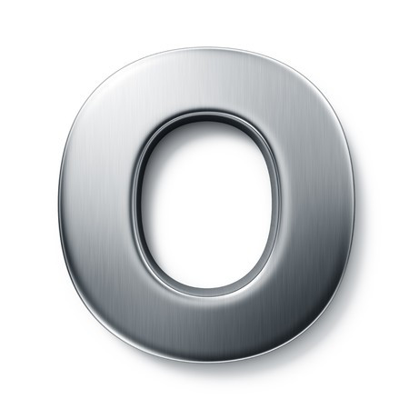 cocao: 3d rendering of the letter O in brushed metal on a white isolated background.