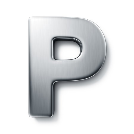 brushed aluminium: 3d rendering of the letter P in brushed metal on a white isolated background. Stock Photo