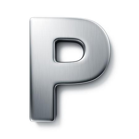 letras cromadas: representaci�n 3D de la letra P en el metal cepillado sobre un fondo blanco aislado de fondo.