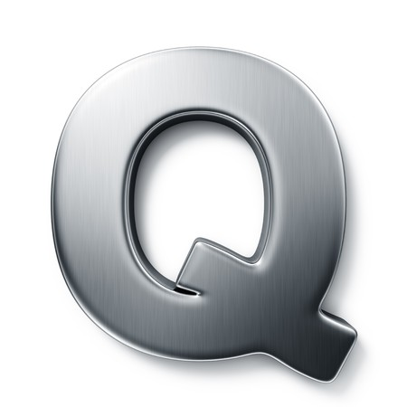 3d rendering of the letter Q in brushed metal on a white isolated background. photo