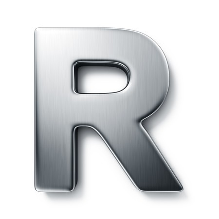 metal letter: 3d rendering of the letter R in brushed metal on a white isolated background.