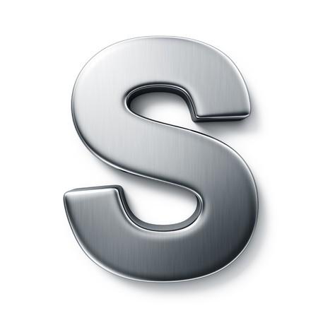 letras cromadas: representaci�n 3D de la letra S en el metal cepillado sobre un fondo blanco aislado de fondo.  Foto de archivo