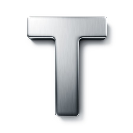 3d rendering of the letter T in brushed metal on a white isolated background.