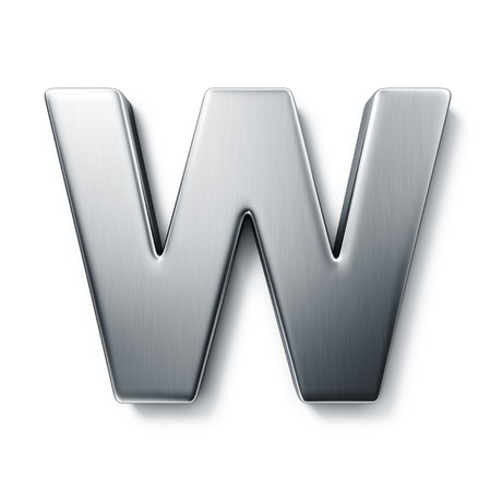 3d rendering of the letter W in brushed metal on a white isolated background. photo