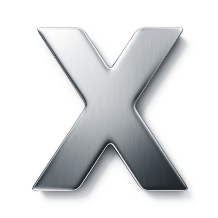 steel icon: 3d rendering of the letter X in brushed metal on a white isolated background.
