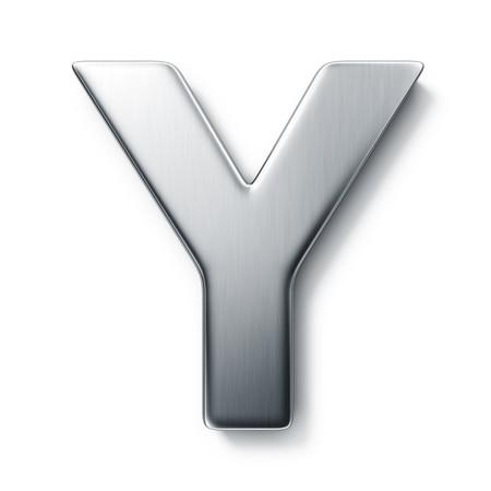 letras cromadas: representaci�n 3D de la letra Y en metal cepillado sobre un fondo blanco aislado de fondo.  Foto de archivo