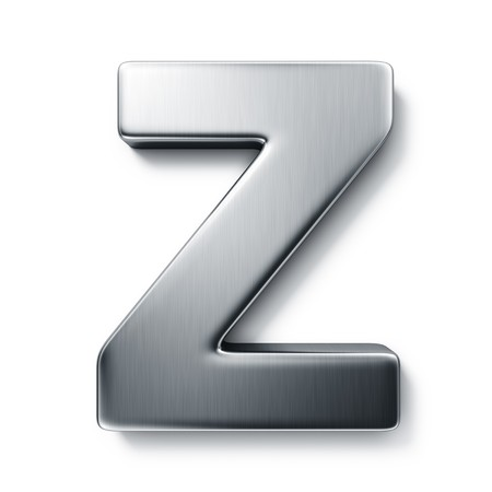 3d rendering of the letter Z in brushed metal on a white isolated background.