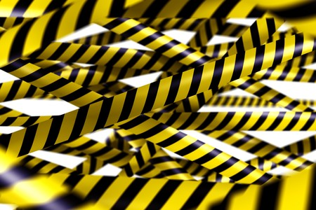 3d rendering of blank caution tape photo