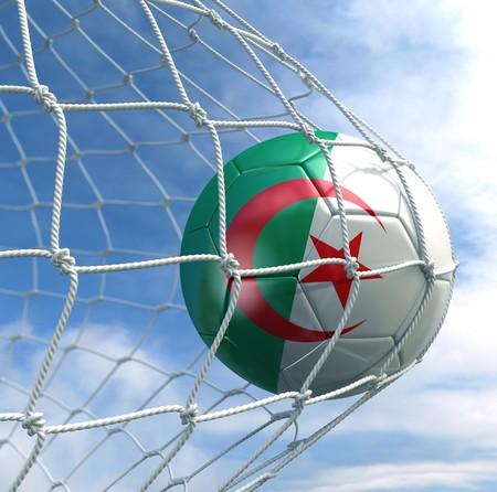 Algeria: 3d rendering of an Algerian soccer ball in a net Stock Photo