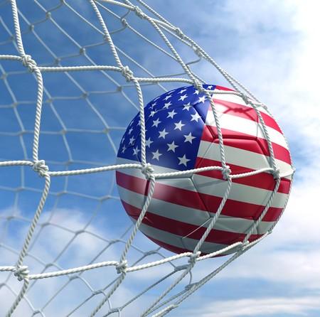 soccer balls: 3d rendering of an American soccer ball in a net