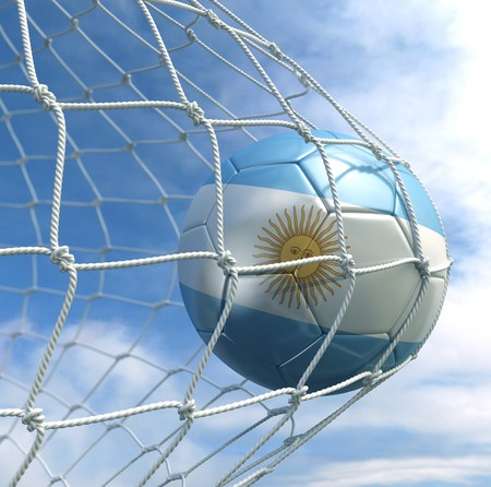argentina flag: 3d rendering of an Argentinian soccer ball in a net Stock Photo