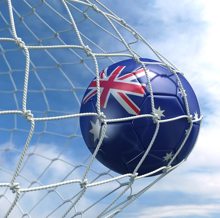 3d rendering of a Australian soccer ball in a net Stock Photo - 7827068