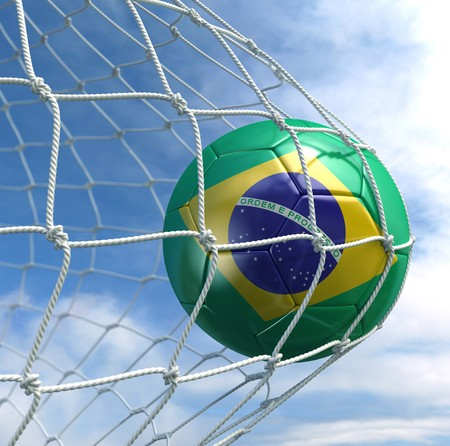 brazil country: 3d rendering of a Brazilian soccer ball in a net